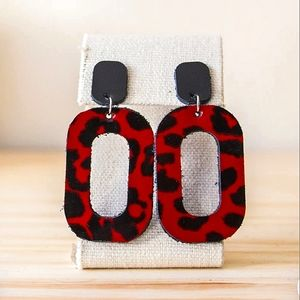 Lu Made By Hand Red Cheetah Leather Upcycled Earrings w/ Posts